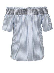 Krémovo-modrá pruhovaná halenka s odhalenými rameny Dorothy Perkins