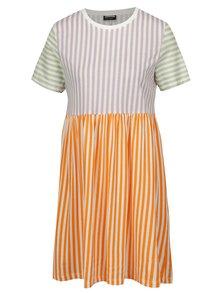 Krémovo-oranžové pruhované šaty Noisy May Freja