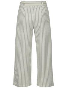Pantaloni culottes crem in dungi cu talie inalta ONLY Lou