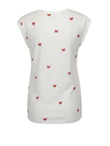 Tricou alb cu print funde - ONLY Bone