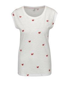 Bílé tričko s potiskem mašlí ONLY Bone