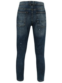 Blugi skinny cropped albastri cu aspect deteriorat -  Burton Menswear London
