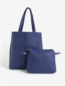 Geanta shopper bleumarin cu buzunare si portofel detasabil Claudia Canova Annalise