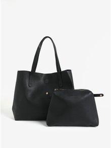 Geanta neagra shopper cu portofel detasabil Claudia Canova Ophelia