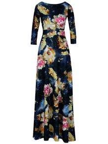 Rochie maxi bleumarin cu print floral si decupaj amplu la spate - miestni