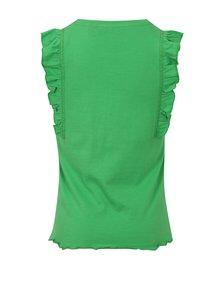 Zelené dievčenské tielko s potlačou a volánmi na ramenách Blue Seven