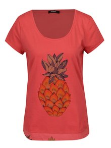 Tricou roz cu print ananas  - Desigual Rachell