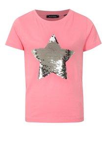 Svetloružové dievčenské tričko s magickými flitrami Blue Seven