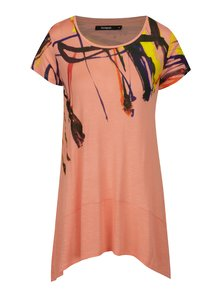 Tricou roz lung asimetric cu print abstract - Desigual Aristo