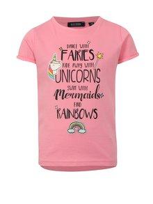 Ružové dievčenské tričko s potlačou a nášivkou Blue Seven