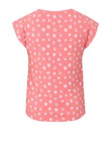 Ružové dievčenské bodkované tričko s uzlom Blue Seven