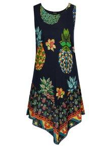 Tmavomodré asymetrické vzorované šaty Desigual Rouses