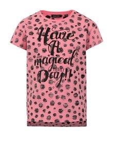 Růžové holčičí puntíkované tričko s potiskem Blue Seven