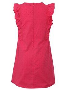 Tmavoružové šaty s drobným vzorom a volánmi Blue Seven