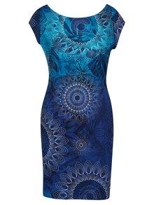 Modré vzorované šaty s krátkým rukávem Desigual Corbin