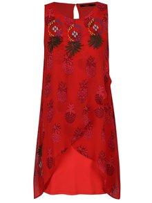 Červené vzorované šaty s výšivkou Desigual Katherina
