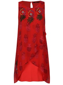 Rochie rosie asimetrica cu broderie si print ananas - Desigual Katherina