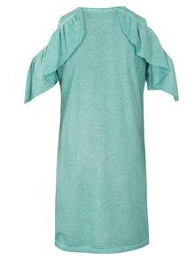 Mentolové šaty s prestrihmi na ramenách Blue Seven