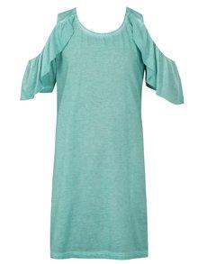 Mentolové šaty s průstřihy na ramenou Blue Seven
