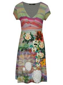 Růžovo-zelené šaty s krátkým rukávem Desigual Tutti Frutti