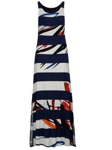 Rochie maxi alb&albastru cu print abstract si dungi  Desigual Felipe