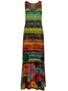 Rochie maxi verde&rosu cu print - Desigual Lauren