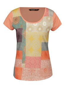 Oranžové vzorované tričko s krátkym rukávom Desigual Helena