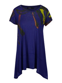 Tricou mov lung asimetric cu print abstract - Desigual Aristo