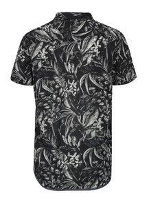 Krémovo-černá vzorovaná slim fit košile s krátkým rukávem Blend