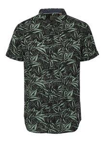 Zeleno-čierna vzorovaná slim fit košeľa s krátkym rukávom Blend