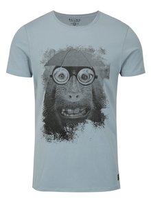 Modré slim fit tričko s potiskem Blend