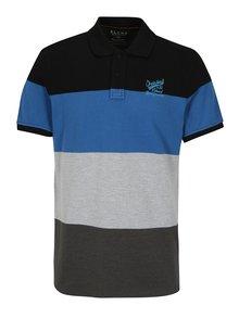 Modro-šedé pruhované regular fit polo tričko Blend
