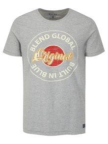 Svetlosivé melírované slim fit tričko s potlačou a krátkym rukávom Blend