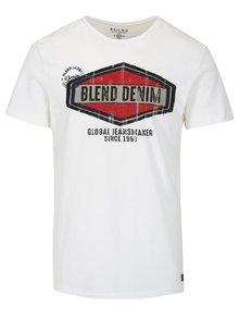 Bílé slim fit tričko s potiskem a krátkým rukávem Blend