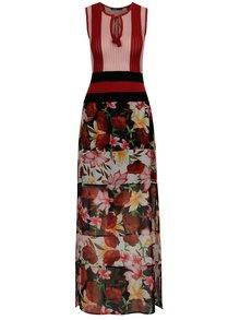 Růžovo-černé květované maxi šaty Desigual Bye Bye Love