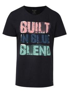Tmavě modré slim fit tričko potiskem Blend