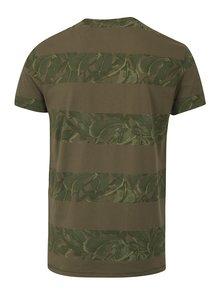 Tmavě zelené slim fit tričko s potiskem Blend