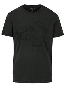 Tmavě šedé vzorované slim fit tričko Blend