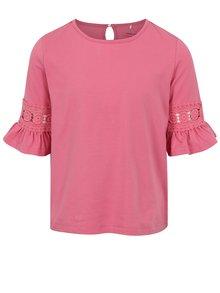 Ružové dievčenské tričko s volánmi na rukávoch name it Fiam