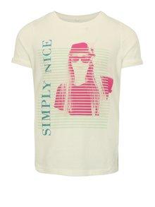 Krémové dievčenské tričko s potlačou name it Sandy