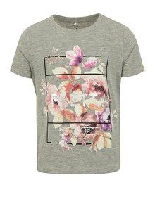 Sivé dievčenské melírované tričko s potlačou name it Sandy