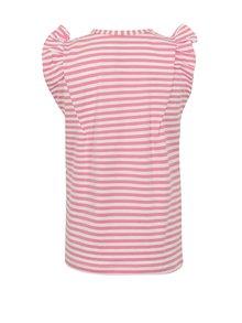 Bielo-ružové dievčenské pruhované tričko s výšivkou name it Fibine