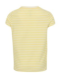 Žlto-krémové dievčenské pruhované tričko s výšivkou name it Fay