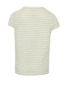 Modro-krémové dievčenské pruhované tričko s výšivkou name it Fay