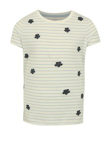 Modro-krémové holčičí pruhované tričko s výšivkou name it Fay