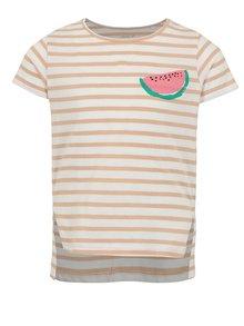 Hnedo-biele dievčenské pruhované tričko s potlačou name it Via