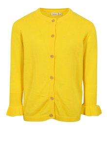 Žltý dievčenský kardigan s volánmi na rukávoch name it Filippa