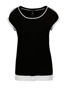 Bielo-čierne tričko s prestrihmi na ramenách Yest