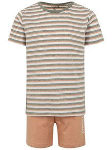 Marhuľovo-sivé chlapčenské pruhované pyžamo s potlačou name it Night