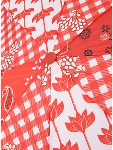 Červený dáždnik s bielymi bodkami Desigual Dolly